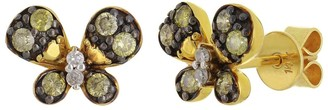 Overstock 14k Yellow Gold 0.33ctw Champagne Diamond Pave Butterfly Stud Earrings