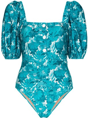 Adriana Degreas Pouf-Sleeve Floral Print Swimsuit