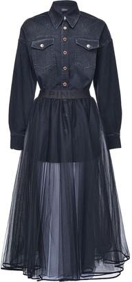 Pinko Shirt-Detail Flared Dress