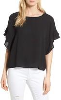 Bobeau Women's Soft Flutter Sleeve Top
