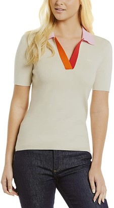Lacoste Short Sleeve Color-Block Collar Detail Polo (Sabler/Pinkish Red Gladiolus) Women's Clothing