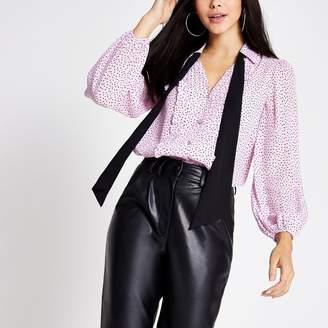River Island Womens Purple polka dot long sleeve tie neck shirt