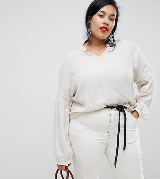 Current Air Plus Long Sleeve Ruched Detail Blouse