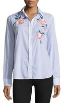 Rails Nevin Striped Floral-Embroidered Poplin Top