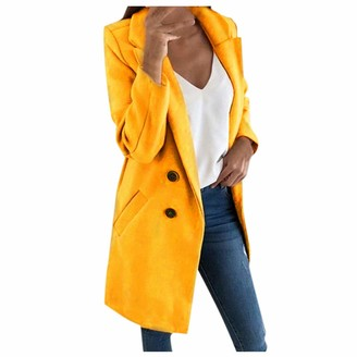 Rikay Women Coat Parka Overcoat Double Breasted Wool Blend Trench Elegant Button Lapel Plain Outerwear Plus Size 6-18 Yellow