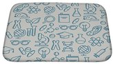 Gear New Bath Rug Mat No Slip Microfiber Memory Foam, Silver Pattern With Outline Symbols Of Science Education And Research, 24x17