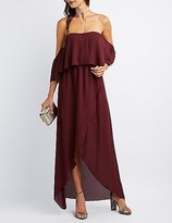 Charlotte Russe Off-The-Shoulder Maxi Wrap Dress