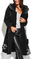 Black & White Abstract Wool-Blend Coat - Plus Too