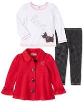Kids Headquarters Baby Girls 3 Pieces Winter Fleece Color Block Jacket Pants Set