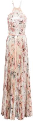 Marchesa Cutout Pleated Floral-print Jacquard Gown