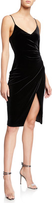 Black Halo Bowery V-Neck Velvet Sheath Dress w/ High Slit