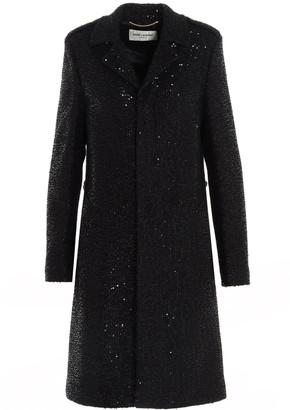 Saint Laurent Sequinned Tweed Coat