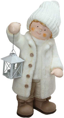 Northlight Winter Boy In White Holding A Tealight Lantern Christmas Table Top Figure
