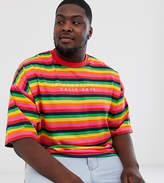 Asos Design ASOS DESIGN Plus oversized t-shirt in rainbow stripe with embroidery-Multi
