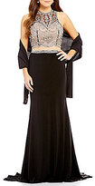 Coya Collection High Neck Illusion-Yoke Beaded Bodice Faux Two-Piece Long Dress