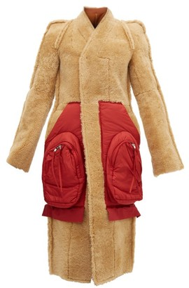 Rick Owens Patch-pocket Single-breasted Shearling Coat - Tan Red
