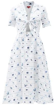 STAUD Giorgiana Good Luck Pup-print Linen-blend Dress - White Print