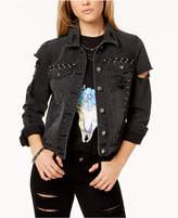 Material Girl Juniors' Cotton Studded Denim Jacket, Created for Macy's