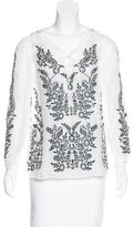 Alice + Olivia Silk Embroidered Blouse