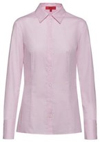 HUGO Slim-fit blouse in dobby cotton with point collar