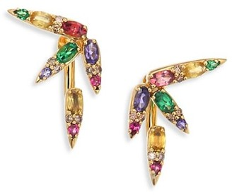 Nikos Koulis Spectrum Brown Diamond, Tsavorite, Iolite, Pink Tourmaline, Yellow Beryls Rhodolite Ear Jacket Stud Earrings Set