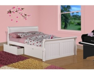 Donco Kids Full Sleigh Bed with Dual Underbed Drawers