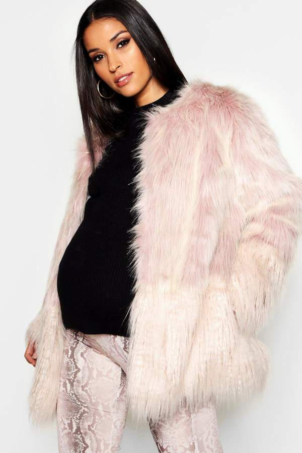Maternity Mixed Faux Fur Coat