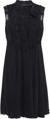 Valentino Broderie Anglaise And Tulle-paneled Pleated Silk-crepe Mini Dress