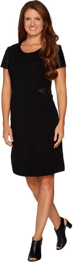 Halston H By H by Petite VIP Ponte Dress with Leather Details