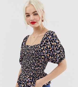 New Look shell top with peplum in ditsy floral print