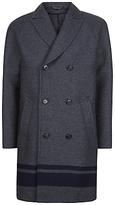 Jaeger Engineered Stripe Overcoat, Charcoal