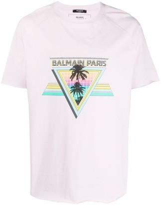 Balmain tropical logo print T-shirt