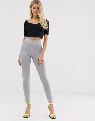 Parallel Lines suedette slim pants with zip front detail in gray