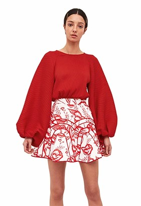 C/Meo Women's Long Balloon Sleeve Comes in Waves Top