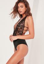 Missguided Black Lace Plunge Neck Babydoll Bodysuit