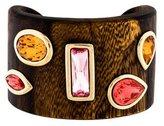 Oscar de la Renta Wood & Crystal Cuff Bracelet