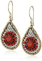 Miguel Ases Small Red Raised Swarovski Center TearDrop Earrings