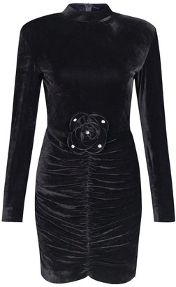 Rue Agthonis Black Velvet Ruffle With Diamond Lace Dress