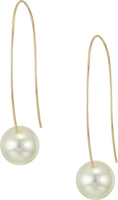 Kenneth Jay Lane Gold Long Wire with White Pearl Bottom Drop Wire Ear Earrings Gold/White Pearl One Size
