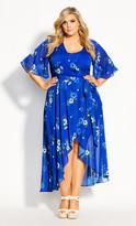 City Chic Blue Floral Maxi Dress - blue