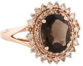 Ring Smoky Quartz & Diamond Halo