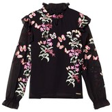 GUESS Black Floral Embroidered Blouse