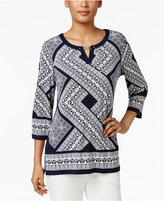 JM Collection Studded Keyhole Tunic, Created for Macy's