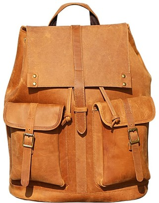 Touri Genuine Leather Backpack With Two Front Pockets In Tannish Brown