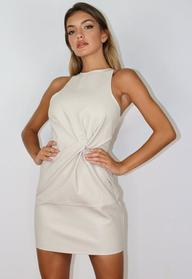 Missguided Cream Faux Leather Croc Twist Front Mini Dress