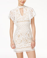 Crystal Doll Juniors' Flutter-Sleeve Lace Bodycon Dress