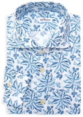 Kiton Porcelain Floral Dress Shirt