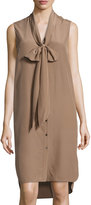 Belstaff Ramsay Tie-Neck Silk Shirtdress, Taupe