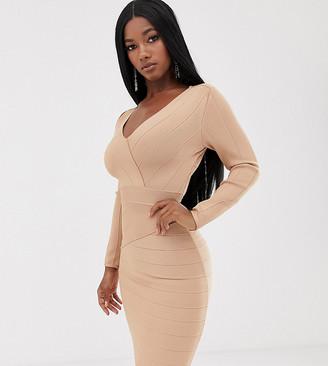 Lipsy plunge front long sleeve bandage mini dress in caramel