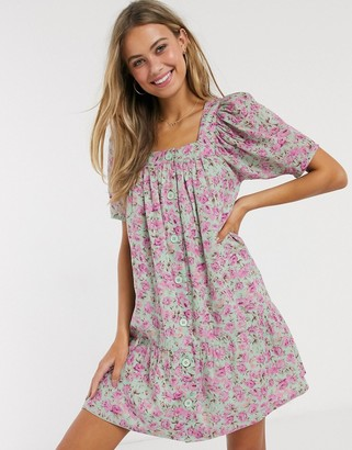 Influence button through puff sleeve mini dress in retro floral